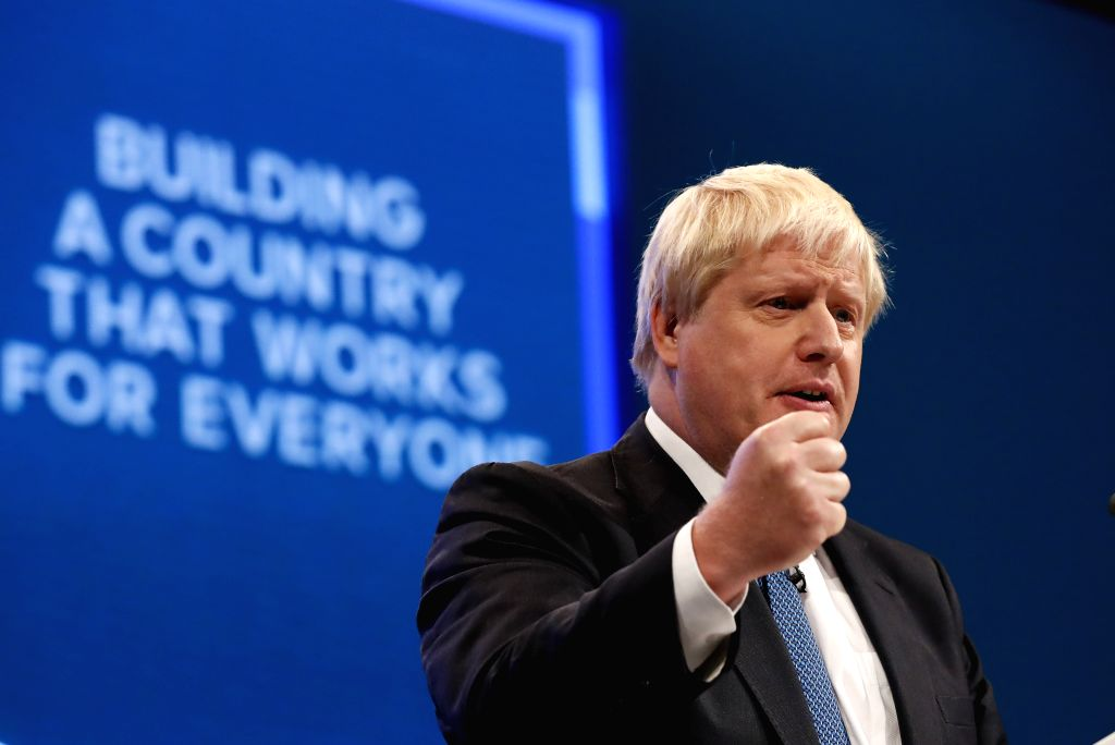 LONDON, June 20, 2019 (Xinhua) -- File photo taken on Oct. 3, 2017 shows then British Foreign Secretary Boris Johnson delivering his keynote speech during the Conservative Party Annual Conference 2017 in Manchester, Britain. Former Foreign Secretary