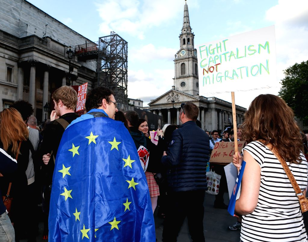 """LONDON, June 21, 2016 - People attend the """"YES to Europe"""" rally in Trafalgar square in London, Britain on June 21, 2016."""