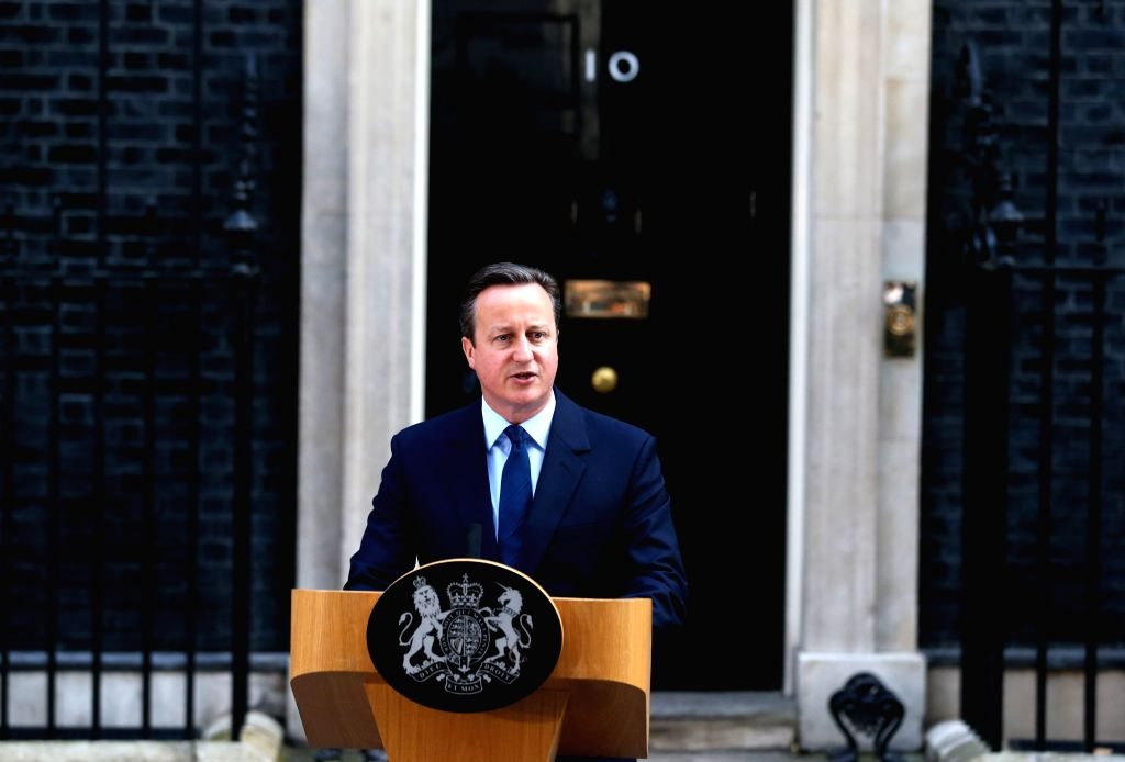 LONDON, June 24, 2016 - British Prime Minister David Cameron delivers a speech at 10 Downing Street in London, June 24, 2016. Britain Prime Minister David Cameron on Friday morning announced his ... - David Cameron