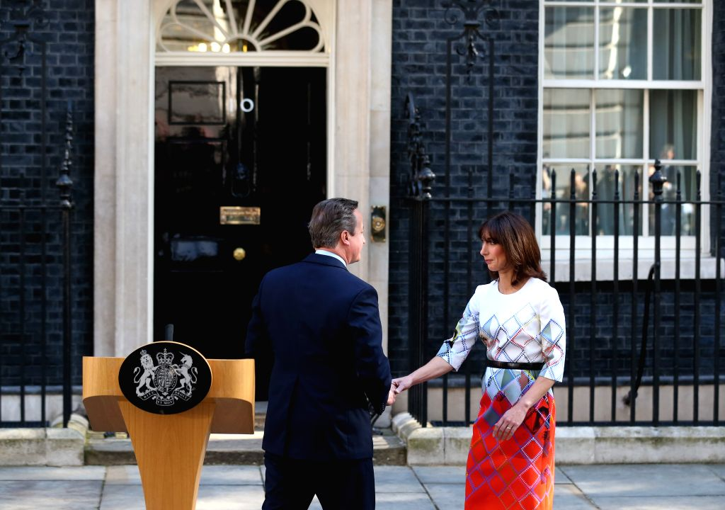LONDON, June 24, 2016 - British Prime Minister David Cameron leaves with his wife Samantha after his speech at 10 Downing Street in London, June 24, 2016. British Prime Minister David Cameron on ... - David Cameron