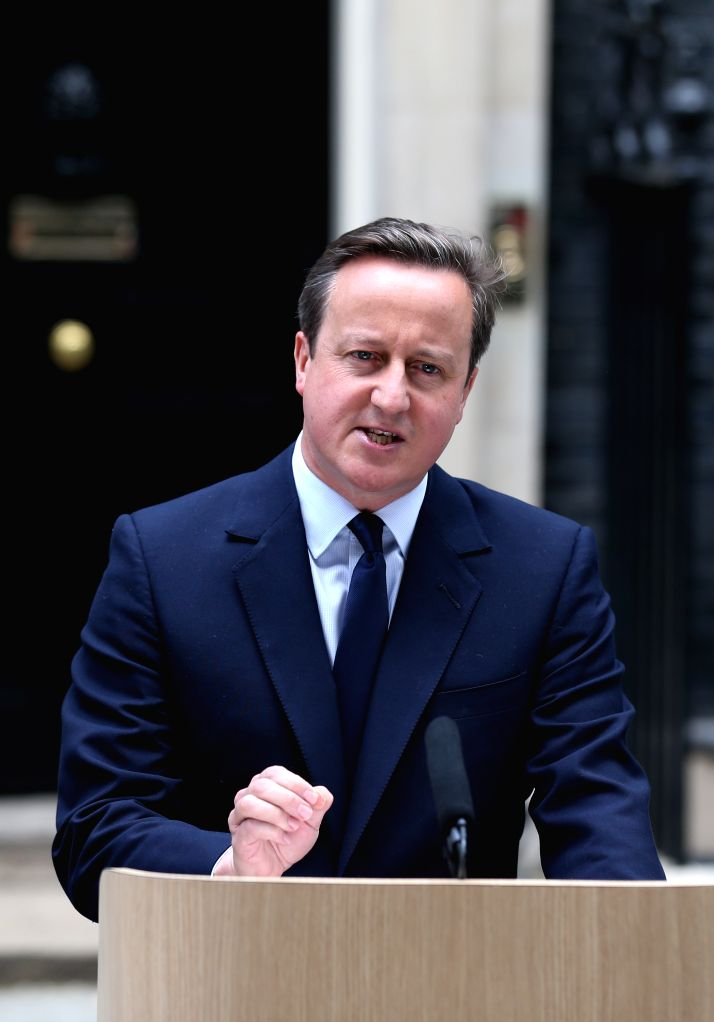 LONDON, June 24, 2016 - File photo taken on June 21, 2016 shows British Prime Minister David Cameron delivering a speech at 10 Downing Street in London. British Prime Minister David Cameron announced ... - David Cameron