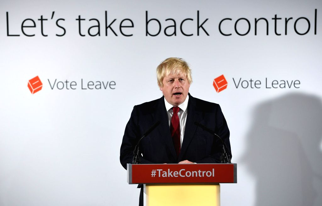 """LONDON, June 24, 2016 - Former London Mayor and """"Vote Leave"""" campaigner Boris Johnson speaks during a press conference in London, Britain, June 24, 2016. The Leave camp has won Britain's ..."""