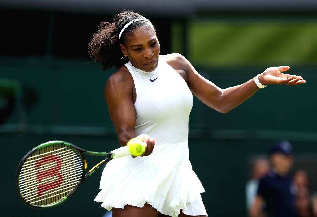 LONDON, June 28, 2016 - Serena Williams of the United States competes during a women's singles first round match with Amra Sadikovic of Switzerland on Day 2 at the 2016 Wimbledon Tennis Championships ...