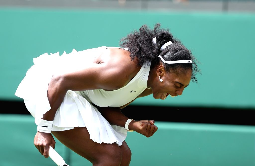 LONDON, June 28, 2016 - Serena Williams of the United States celebrates after scoring during a women's singles first round match with Amra Sadikovic of Switzerland on Day 2 at the 2016 Wimbledon ...