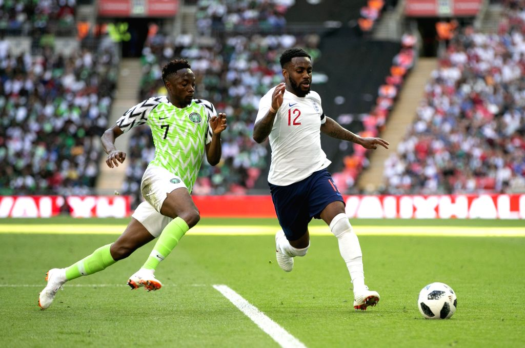 LONDON, June 3, 2018 - Danny Rose (R) of England vies with Ahmed Musa of Nigeria during the International Friendly Football match at Wembley Stadium in London, Britain on June 2, 2018. England won ...