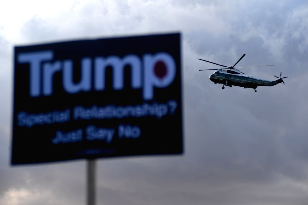 LONDON, June 3, 2019 - Marine One carrying U.S. President Donald Trump and First Lady Melania Trump prepares to land at Buckingham Palace as demonstrators gather here in a protest, in London, ...