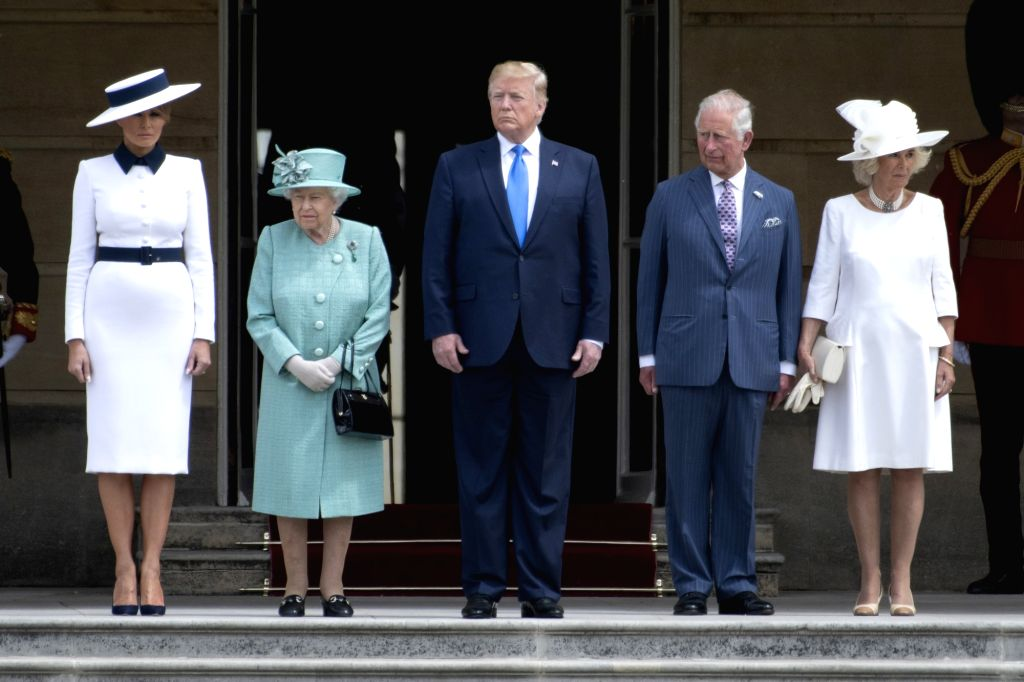 LONDON, June 3, 2019 - Queen Elizabeth II (2nd L), U.S. President Donald Trump (C) and his wife Melania Trump (1st L), Prince Charles (2nd R), and Camilla, attend a welcome ceremony at Buckingham ...