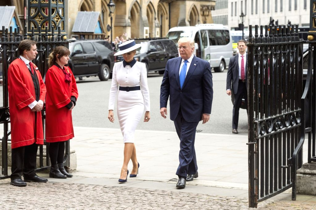 LONDON, June 3, 2019 - U.S. President Donald Trump (1st R, Front) and his wife Melania Trump (2nd R, Front) arrive to visit Westminster Abbey in London, Britain, on June 3, 2019. U.S. President ...
