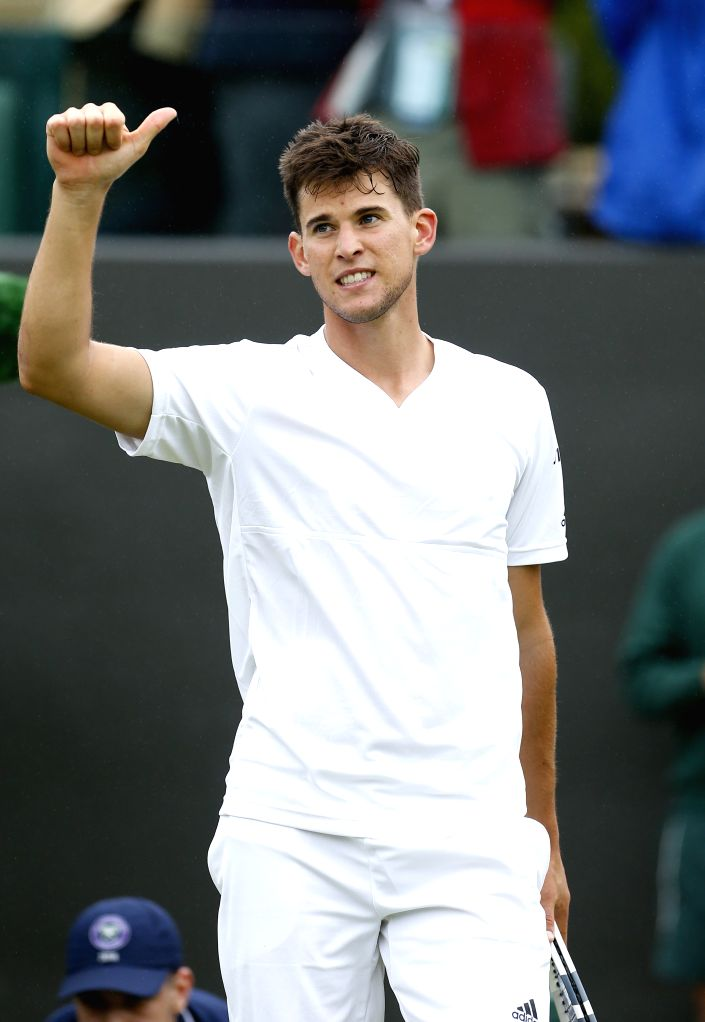 LONDON, June 30, 2016 - Dominic Thiem of Austria celebrates after the men's singles first round match against Florian Mayer of Germany on Day 3 of the 2016 Wimbledon Tennis Championships in London, ...