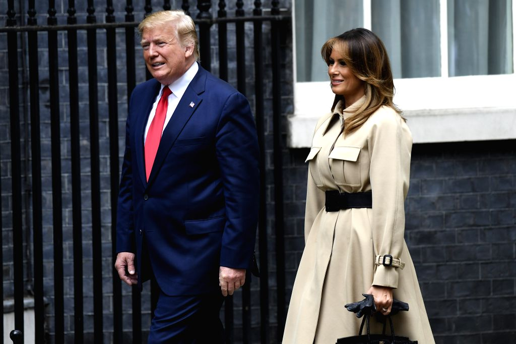LONDON, June 4, 2019 - U.S. President Donald Trump (L) and his wife Melania Trump arrive to meet with British Prime Minister Theresa May and her husband Philip May at 10 Downing Street in London, ... - Theresa May