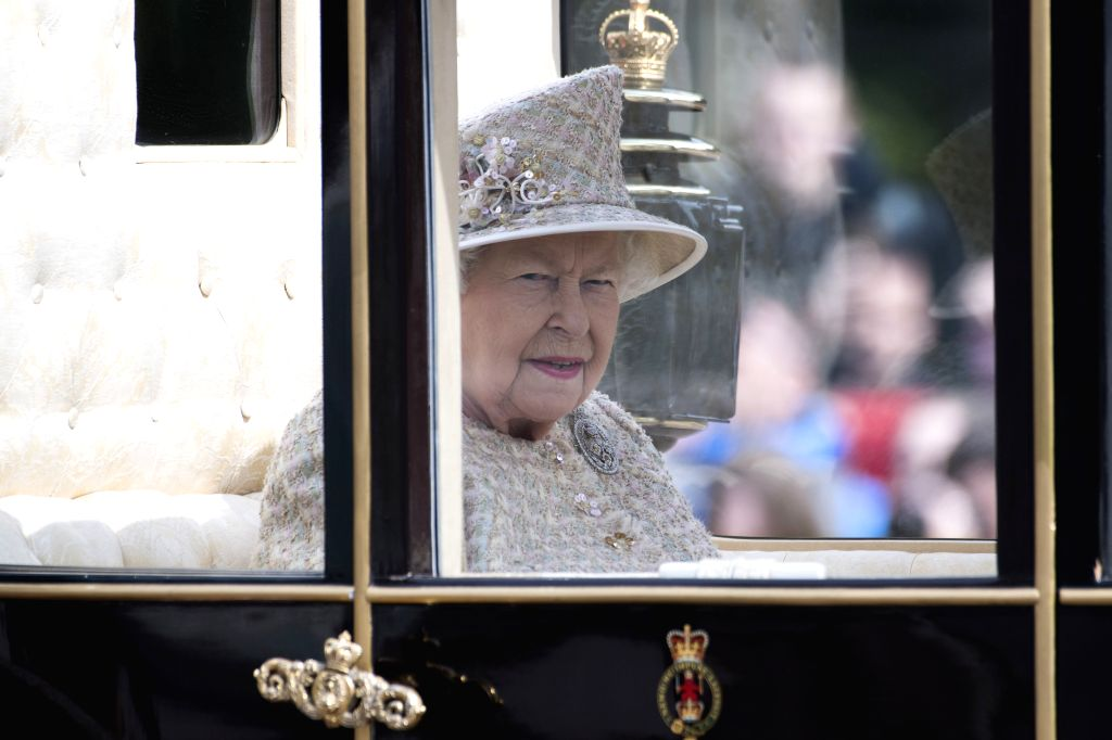LONDON, June 8, 2019 - Britain's Queen Elizabeth II departs from Buckingham Palace during the Trooping the Colour ceremony to mark her 93rd birthday in London, Britain, on June 8, 2019. Queen ...