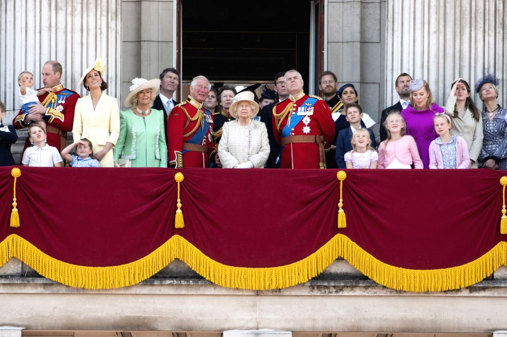 LONDON, June 8, 2019 - Britain's Queen Elizabeth II (C) and her family members are seen on the balcony of Buckingham Palace during the Trooping the Colour ceremony to mark her 93rd birthday in ...