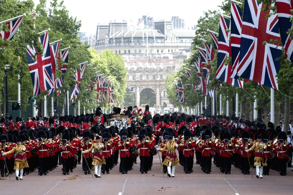 LONDON, June 8, 2019 - Soldiers march down the Mall during the Trooping the Colour ceremony to mark Queen Elizabeth II's 93rd birthday in London, Britain,on June 8, 2019. Queen Elizabeth celebrated ...