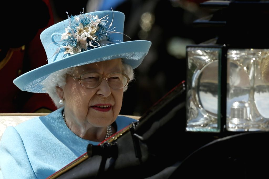 LONDON, June 9, 2018 (Xinhua) -- Britain's Queen Elizabeth II departs from Buckingham Palace during the Trooping the Colour ceremony to mark Queen Elizabeth II's 92nd birthday in London, Britain on June 9, 2018. (Xinhua/Tim Ireland/IANS)