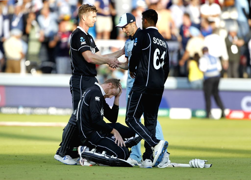 London: London: New Zealand players after losing the final match of the 2019 World Cup against England at the Lord's Cricket Stadium in London, England on July 14, 2019. (Photo: Surjeet Yadav/IANS) - Surjeet Yadav