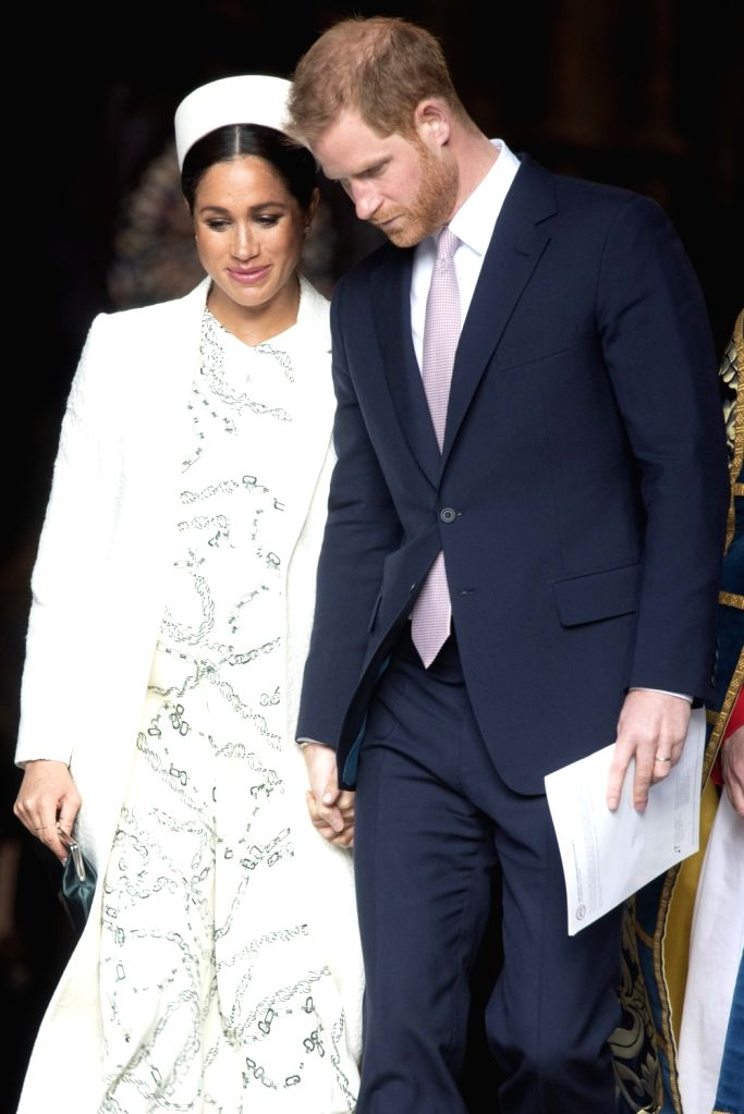 LONDON, March 11, 2019 - Britain's Prince Harry (R), Duke of Sussex, and his wife Meghan, Duchess of Sussex, leave after attending the Commonwealth Day celebrations at Westminster Abbey in London, ...