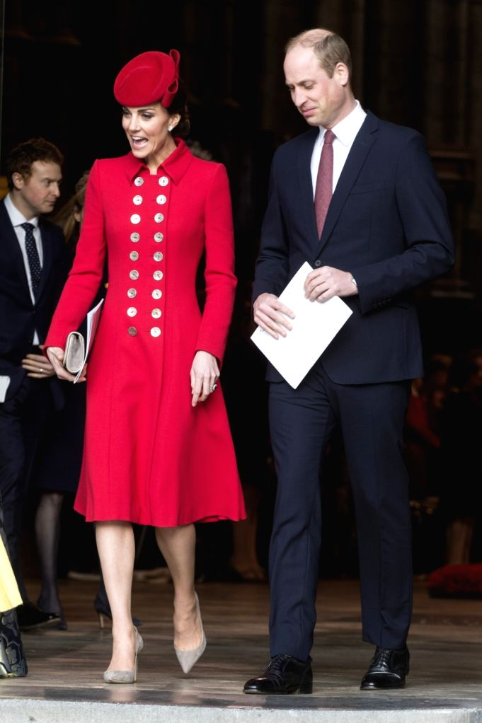 LONDON, March 11, 2019 - Britain's Prince William (R), Duke of Cambridge, and his wife Catherine, Duchess of Cambridge, leave after attending the Commonwealth Day celebrations at Westminster Abbey in ...