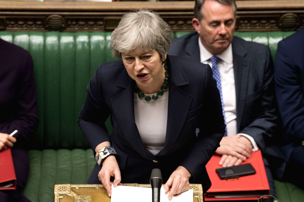 LONDON, March 13, 2019 - British Prime Minister Theresa May (Front) speaks during the no-deal Brexit vote in the House of Commons in London, Britain, on March 13, 2019. British MPs on Wednesday voted ... - Theresa May