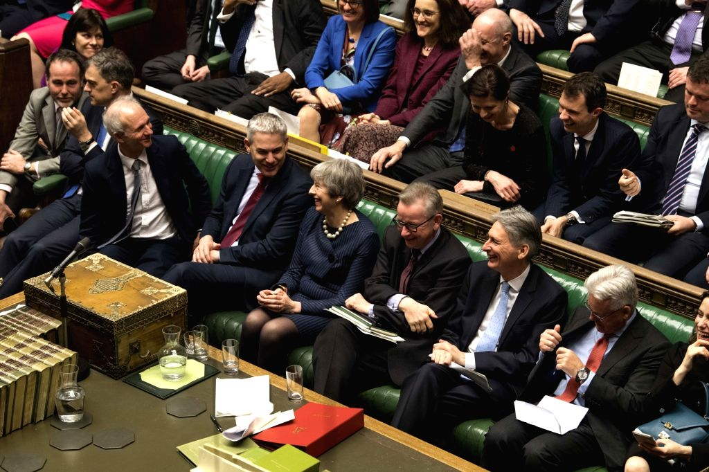 LONDON, March 14, 2019 - British Prime Minister Theresa May (1st row, 5th R) is seen during a vote in the House of Commons in London, Britain on March 14, 2019. British MPs on Thursday voted ... - Theresa May