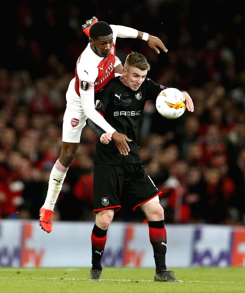 LONDON, March 15, 2019 - Ainsley Maitland-Niles (L) of Arsenal vies with Benjamin Bourigeaud  Rennes during the Europa League Round of 16 second Leg match between Arsenal and Rennes at the Emirates ...