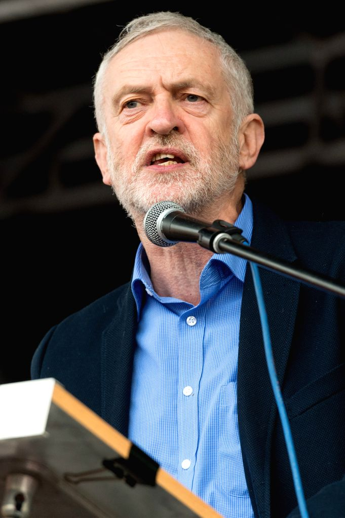 LONDON, March 5, 2017 - Jeremy Corbyn, leader of the main opposition Labour Party, addresses supporters of the Britain's National Health Service (NHS) who take part in a demonstration against budget ...