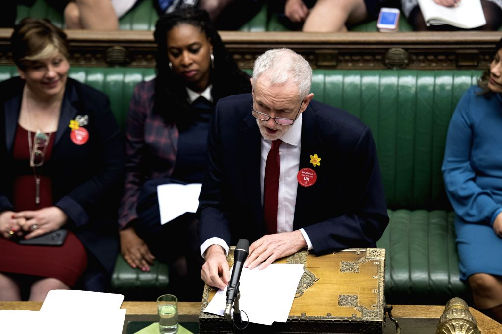 LONDON, March 7, 2019 - British Labor Party leader Jeremy Corbyn (front) attends the Prime Minister's Questions in the House of Commons in London, Britain, on March 6, 2019.
