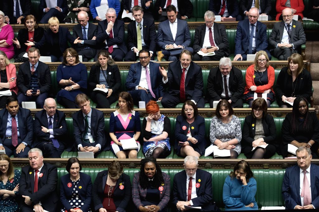 LONDON, March 7, 2019 - Photo taken on March 6, 2019 shows the scene of the Prime Minister's Questions in the House of Commons in London, Britain.