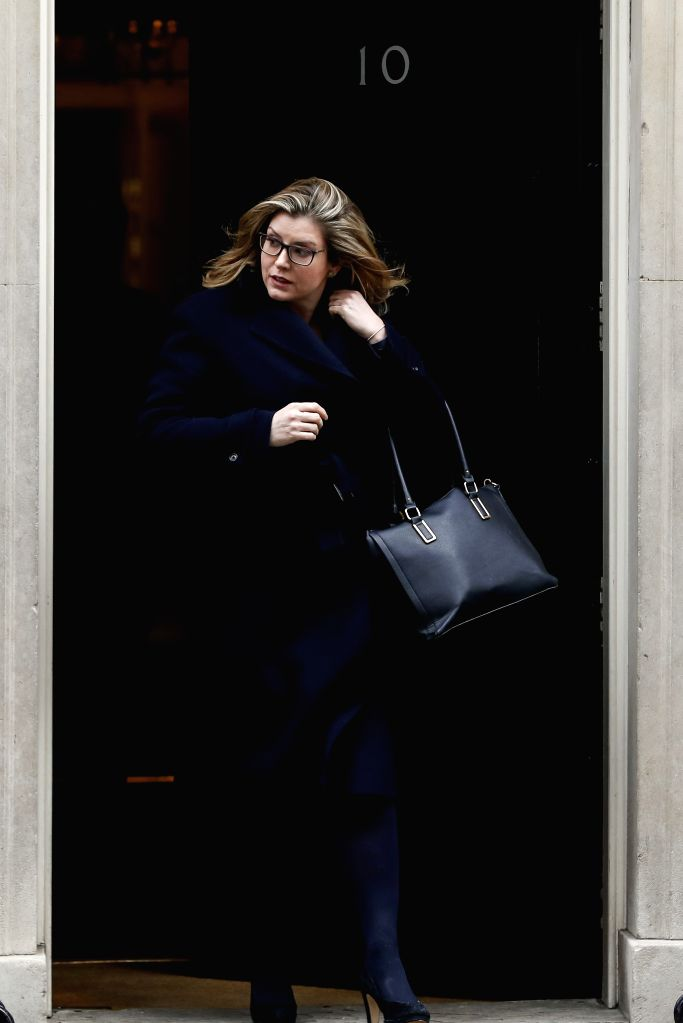 LONDON, May 1, 2019 - The file photo taken on Feb. 12, 2019 shows that Penny Mordaunt leaves Downing Street after a cabinet meeting in London, Britain. Downing Street said on May 1 in a statement ...