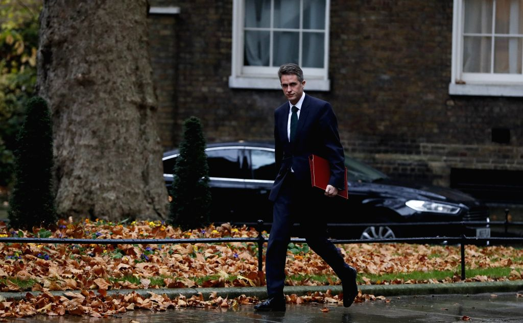 LONDON, May 1, 2019 - The file photo taken on Nov. 20, 2018 shows that Gavin Williamson arrives at Downing Street for a cabinet meeting in London, Britain. Downing Street said on May 1 in a statement ...