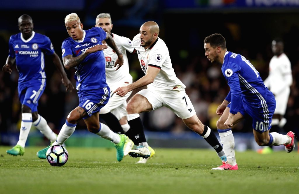LONDON, May 16, 2017 - Nordin Amrabat (2nd R, front) of Watford breaks through during the English Premier League match between Chelsea and Watford at the Stamford Bridge Stadium in London, Britain on ...