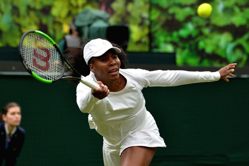 LONDON, May 20, 2019 (Xinhua) -- Venus Williams attends an exhibition match against Kim Clijsters at the Wimbledon No. 1 Court Celebration in support of the Wimbledon Foundation in London, Britain on May 19, 2019. (Xinhua/Ray Tang/IANS)