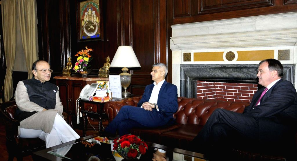 London Mayor Sadiq Khan calls on Union Minister for Finance and Corporate Affairs Arun Jaitley, in New Delhi on Dec 5, 2017. - Mayor Sadiq Khan and Affairs Arun Jaitley