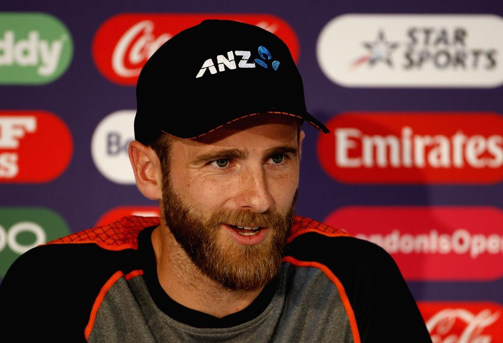 London: New Zealand captain Kane Williamson addresses a press conference ahead of the final match of World Cup 2019 against England at Lord's cricket ground in London, on July 13, 2019. (Photo: Surjeet Kumar/IANS) - Kane Williamson and Surjeet Kumar