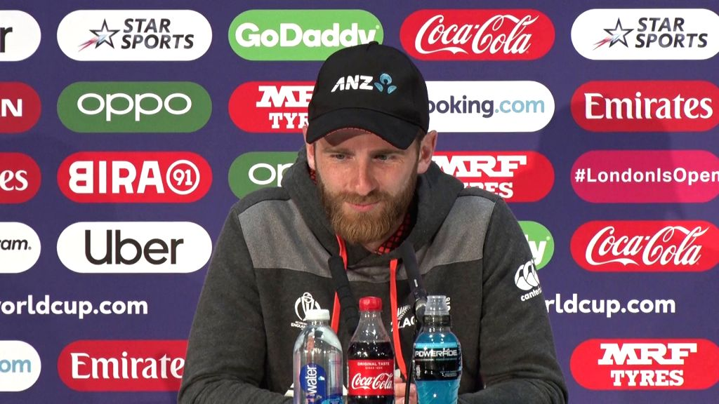 London: New Zealand skipper Kane Williamson addresses a press conference after 2019 World Cup final in London on July 15, 2019. (Photo: IANS)