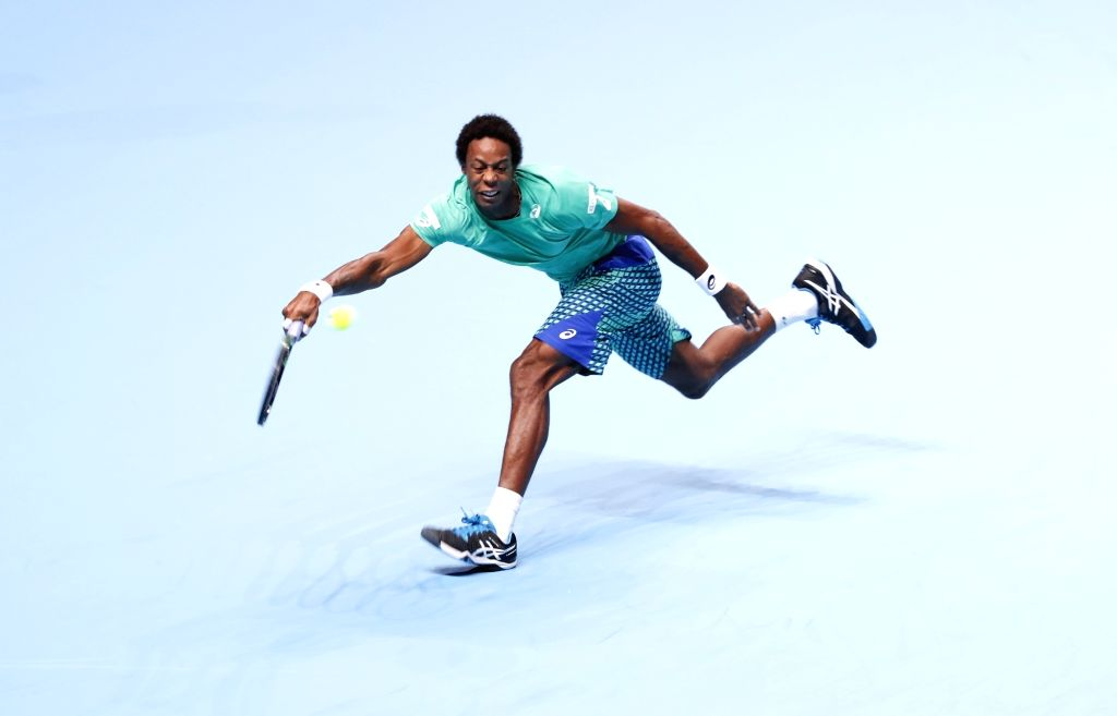 LONDON, Nov. 14, 2016 - Gael Monfils of France competes during the group match with Milos Raonic of Canada at the 2016 ATP Final in London, Britain. Nov. 13, 2016. Monfils lost 0-2.