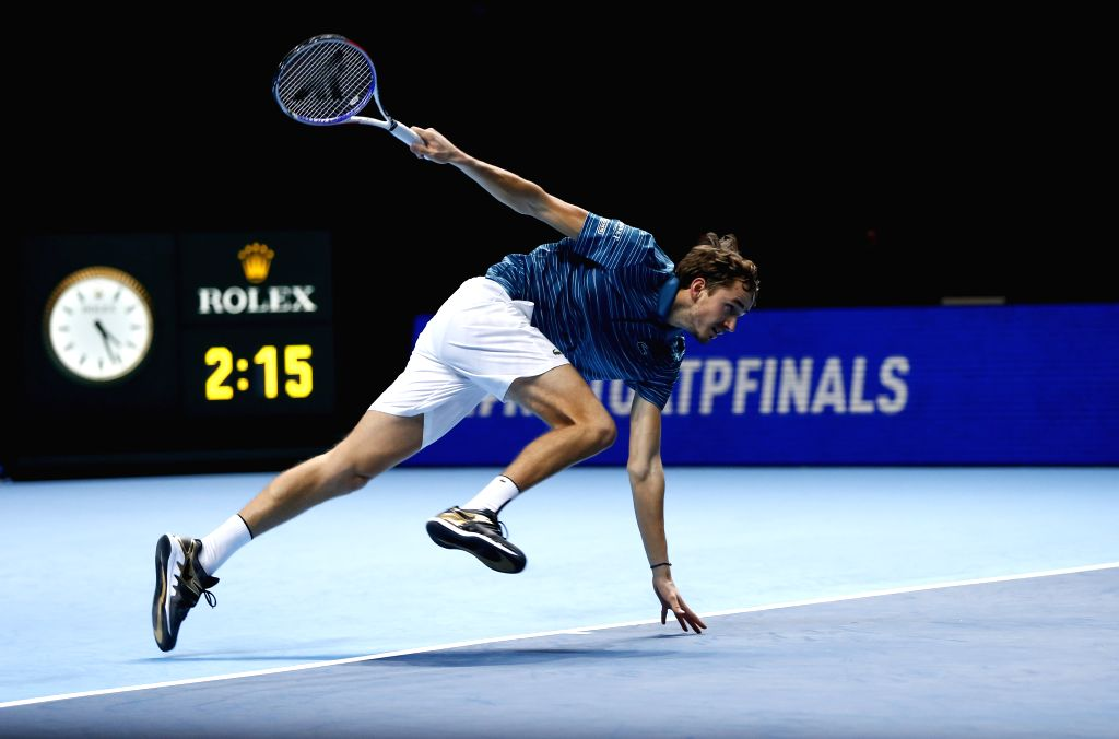 LONDON, Nov. 14, 2019 - Daniil Medvedev of Russia competes during the singles group match against Rafael Nadal of Spain at the ATP World Tour Finals 2019 in London, Britain on Nov. 13, 2019.