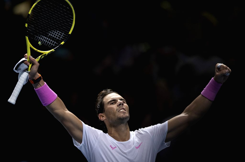 LONDON, Nov. 14, 2019 - Rafael Nadal of Spain celebrates after winning the singles group match against Daniil Medvedev of Russia at the ATP World Tour Finals 2019 in London, Britain on Nov. 13, 2019.