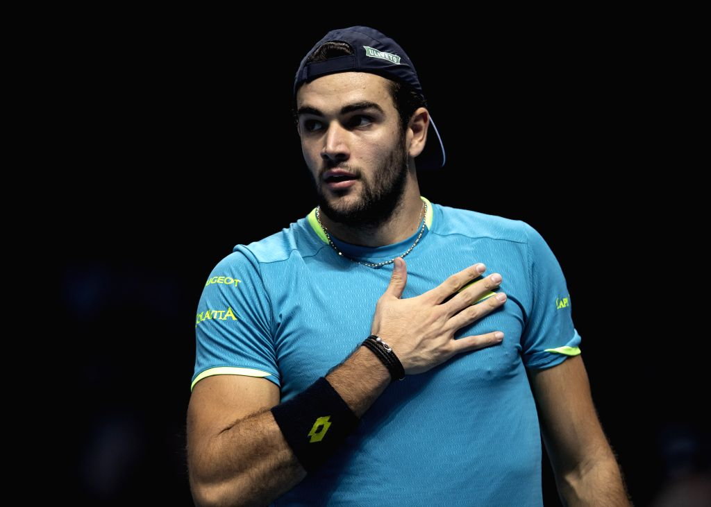 LONDON, Nov. 15, 2019 - Matteo Berrettini of Italy reacts during the singles group match against Dominic Thiem of Austria at the ATP World Tour Finals 2019 in London, Britain on Nov. 14, 2019.