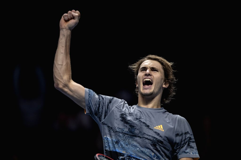 LONDON, Nov. 16, 2019 - Alexander Zverev of Germany celebrates after winning the singles group match against Daniil Medvedev of Russia at the ATP World Tour Finals 2019 in London, Britain on Nov. 15, ...