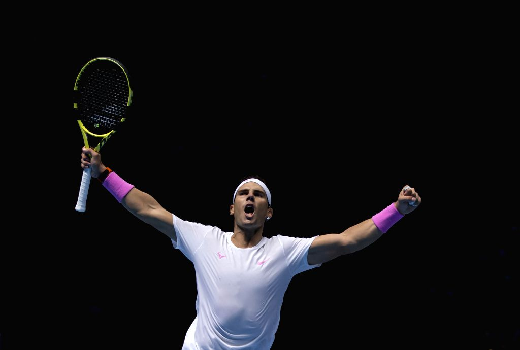 LONDON, Nov. 16, 2019 - Rafael Nadal of Spain celebrates after winning the singles group match against Stefanos Tsitsipas of Greece at the ATP World Tour Finals 2019 in London, Britain on Nov. 15, ...