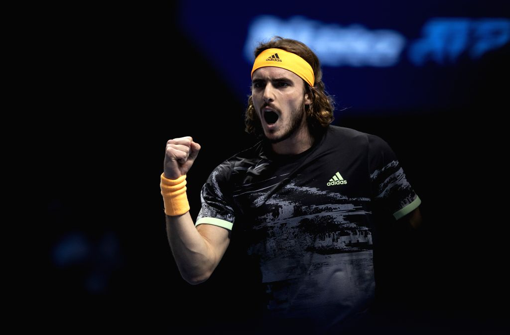 LONDON, Nov. 16, 2019 - Stefanos Tsitsipas of Greece celebrates during the singles group match against Rafael Nadal of Spain at the ATP World Tour Finals 2019 in London, Britain on Nov. 15, 2019.