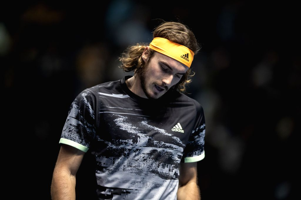 LONDON, Nov. 16, 2019 - Stefanos Tsitsipas of Greece reacts during the singles group match against Rafael Nadal of Spain at the ATP World Tour Finals 2019 in London, Britain on Nov. 15, 2019.