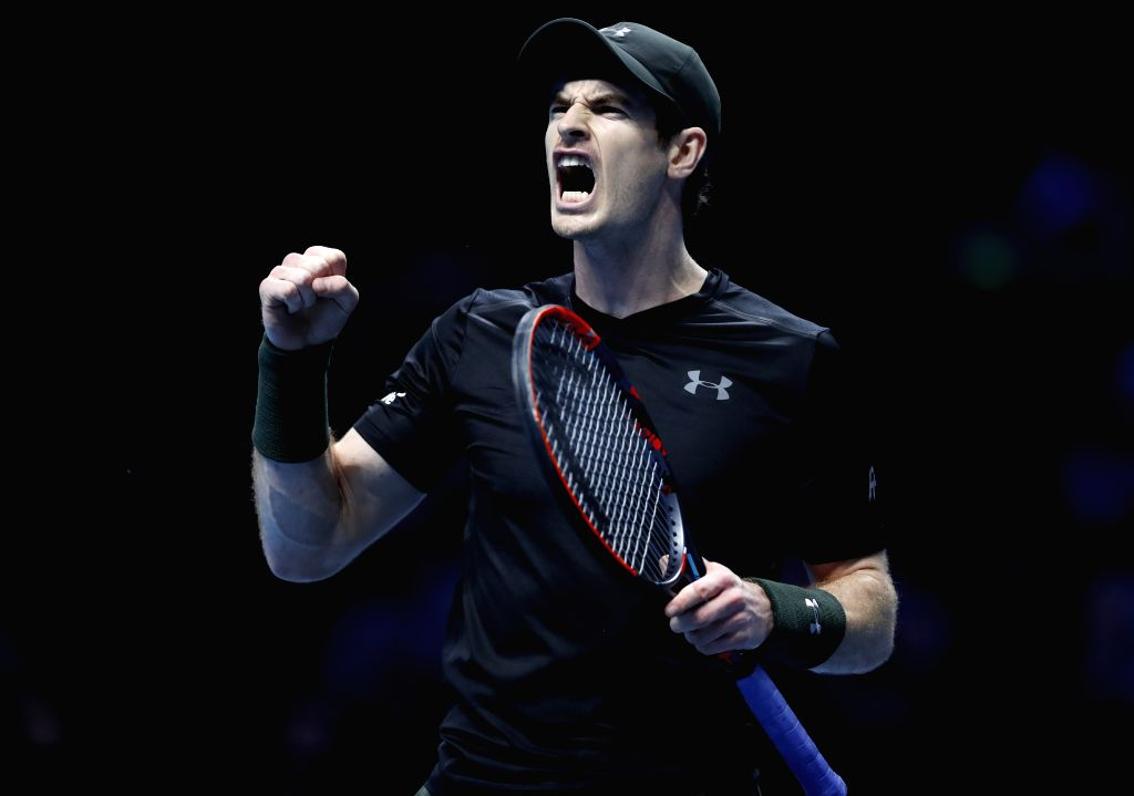 LONDON, Nov. 17, 2016 - Andy Murray of Britain reacts in the group match with Kei Nishikori of Japan at the 2016 ATP World Tour Final at O2 in London, Britain, on Nov. 16, 2016. Andy Murray won 2-1. ...