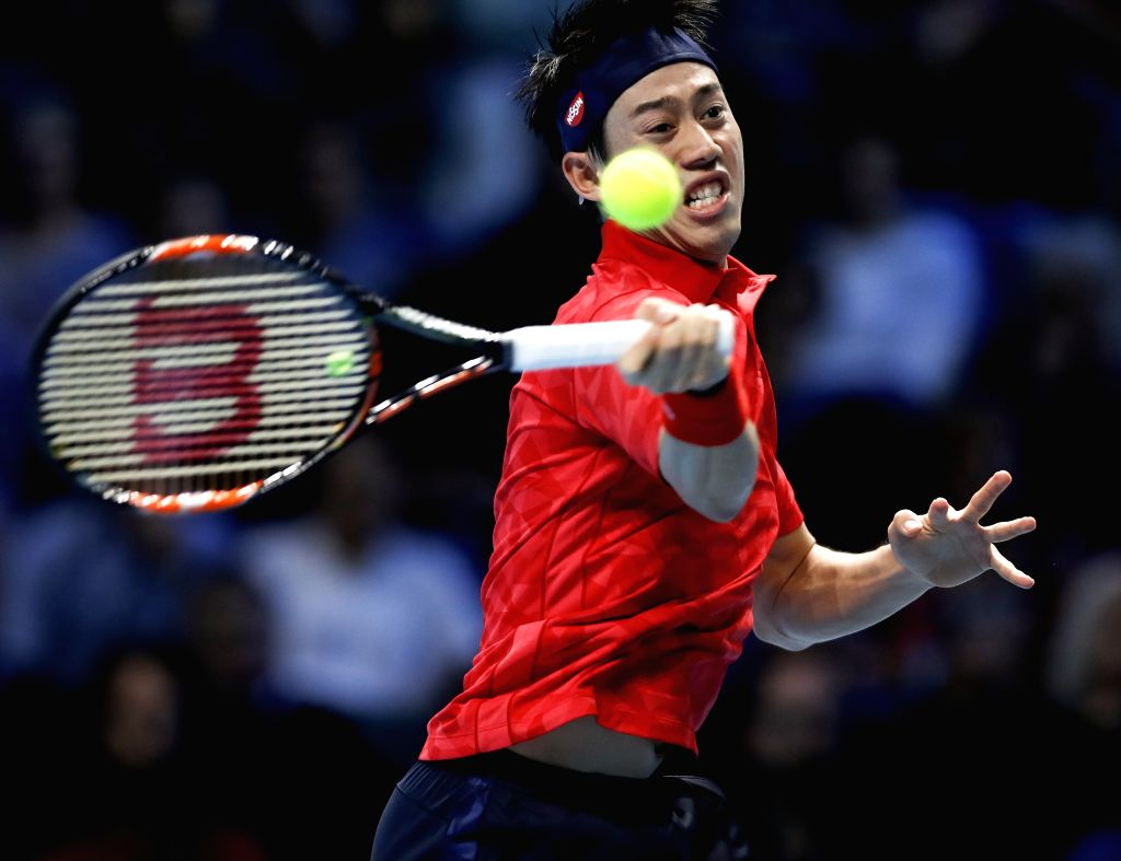 LONDON, Nov. 17, 2016 - Kei Nishikori of Japan competes in the group match with Andy Murray of Britain at the 2016 ATP World Tour Final at O2 in London, Britain, on Nov. 16, 2016. Andy Murray won ...