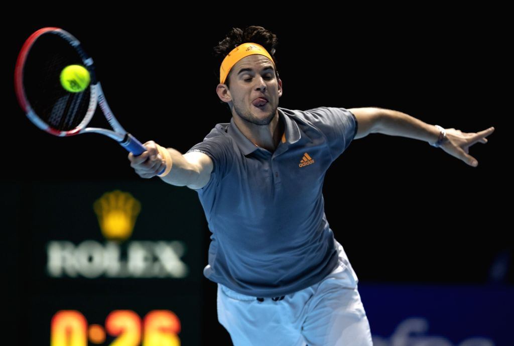 London, Nov. 17, 2019 - Dominic Thiem of Austria returns a shot during the singles semifinal against Alexander Zverev of Germany at the ATP World Tour Finals 2019 in London, Britain on Nov. 16, 2019.