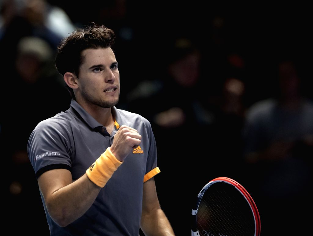 London, Nov. 17, 2019 - Dominic Thiem of Austria celebrates after winning the singles semifinal against Alexander Zverev of Germany at the ATP World Tour Finals 2019 in London, Britain on Nov. 16, ...
