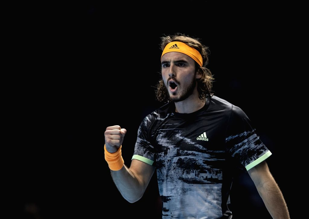 London, Nov. 17, 2019 - Stefanos Tsitsipas of Greece celebrates during the singles semifinal against Roger Federer of Switzerland at the ATP World Tour Finals 2019 in London, Britain on Nov. 16, 2019.