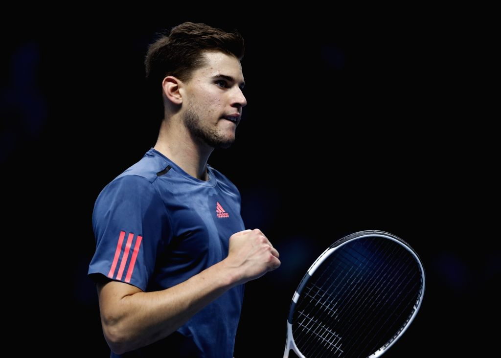 LONDON, Nov. 18, 2016 - Dominic Thiem of Austria reacts in the group match with Milos Raonic of Canada at the 2016 ATP World Tour Final at O2 in London, Britain on Nov. 17, 2016. Thiem lost 0-2.