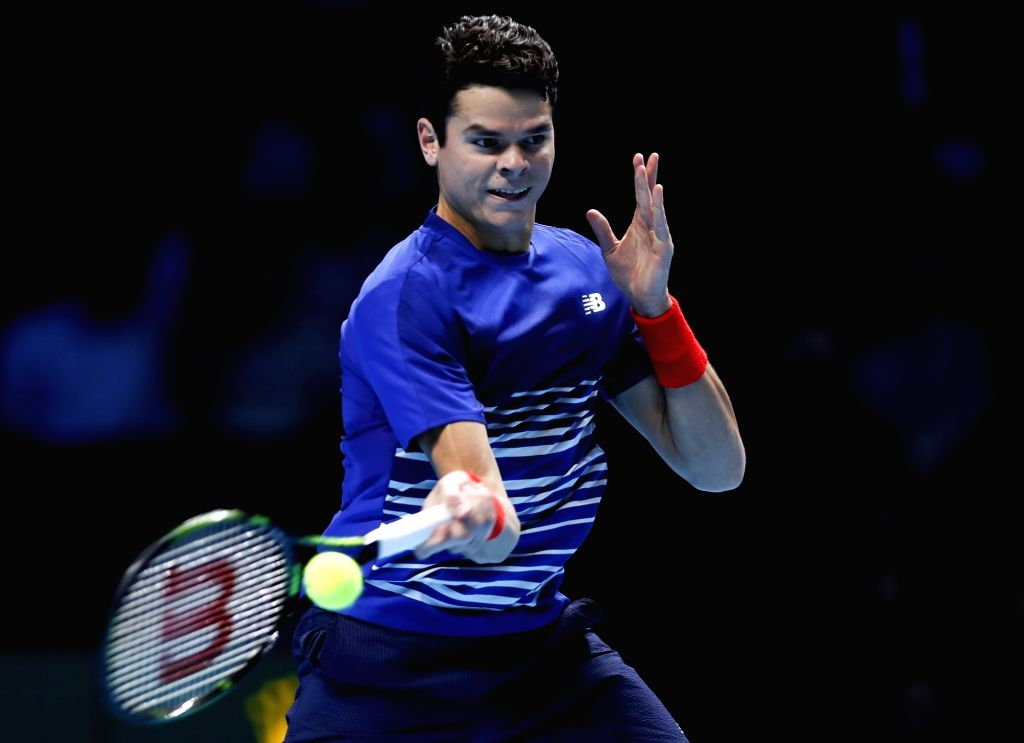 LONDON, Nov. 18, 2016 - Milos Raonic of Canada competes in the group match with Dominic Thiem of Austria at the 2016 ATP World Tour Final at O2 Arena in London, Britain on Nov. 17, 2016. Raonic won ...
