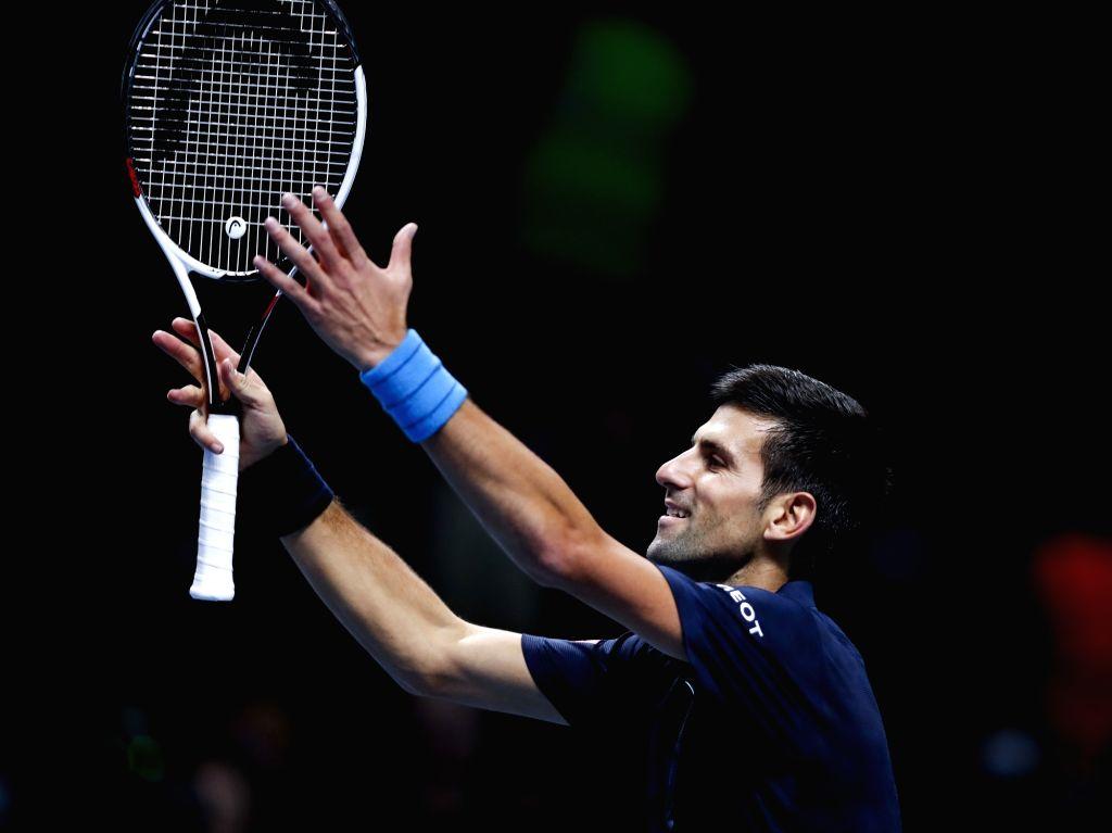 LONDON, Nov. 18, 2016 - Novak Djokovic of Serbia celebrates after the group match with David Goffin of Belgium at the 2016 ATP World Tour Final at O2 in London, Britain on Nov. 17, 2016. Djokovic won ...